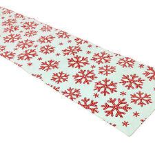 Flato 100% Cotton Dinner Table Linen Runner 13 x 54 Inch, Red & White