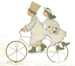 Baden deco matrimonio sposi in bicicletta 31x30 cm,topper torte,latta
