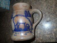"1996 BBP Salt Glazed Pottery 5.75"" tall x 3.5"" wide Tankard Stein Deer design"
