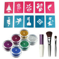 6 Colour Glitter Tattoo Powder Temporary Tattoo with Stencils for Body Paint Art