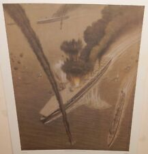 GRIFFITH BAILY COALE AIR ATTACK ON JAPANESE CARRIERS KAGI AND AKAGI LITHOGRAPH
