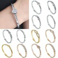 Fashion Silver Gold Women Silver Crystal Bracelet Charm Love Cuff Bangle Jewelry