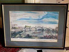 1754 London Hampton Court Pont Imprimer Canaletto Grand CHINOISERIES Print rare