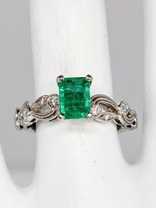 Simon G Signed $6000 1.25ct AAA+++ Colombian Emerald Diamond Platinum Ring