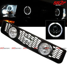 Dual LED DRL Halo Fog Light Lamp Front Hood Grill For 05-09 Ford Mustang V6