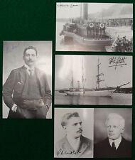 Eva Hart, Millvina Dean Titanic Survivor Signed Postcards + Lightoller Set of 4