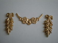 Decorative Resin Moulding - Pair of Drop Leaves and Floral Swag - Gold Finish