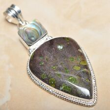 "Handmade Natural Ocean Jasper Gemstone 925 Sterling Silver Pendant 2.75"" #P11631"