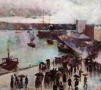 Charles Conder - Departure of the Orient, Circular Quay, Australian Canvas Print