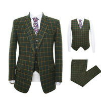 Olive Green Men Tweed Suit Plaid Vintage Tuxedo Prom Party Dinner Wedding Suit