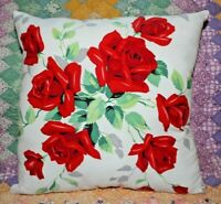 Vintage Wilendur Red Royal Roses Mid Century Farmhouse Tablecloth Throw Pillow
