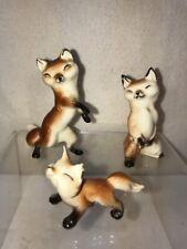 Vtg 3pc Hagen Renacker Miniature Fox Family figurines Dad Mom Baby Anthropomorph