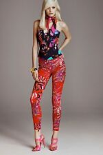VERSACE x H&M Red Tropical Palm Skinny Jeans Pants High Waist XS, 0 - 2