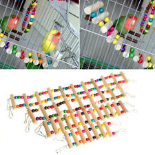 New listing Cockatiel Parakeet Budgie Parrot Pet Toy Birds Wooden Swing Bridge Ladder Climb