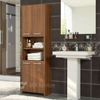 Modern Walnut Tall bathroom storage  4 Doors Cabinet  FAST & FREE Shipping !