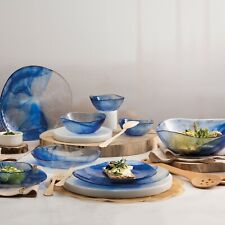 Pasabahce Linden Batik Blue Tempered Glass Dining Plates Dinner Set Tableware