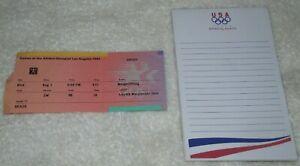 RARE 1984 Olympics Notepad & August 1 1984 Weightlifting Ticket Stub Loyola Univ