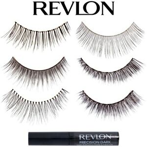 REVLON FALSE LASHES Dark Black Glue Reusable Natural Thick Long Full Eyelashes