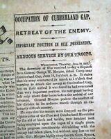BATTLE OF CUMBERLAND GAP George W. Morgan Occupation 1862 Civil War Newspaper