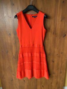 FRENCH CONNECTION SHIFT DRESS Orange Pleated UK 10 / 38 - VGC