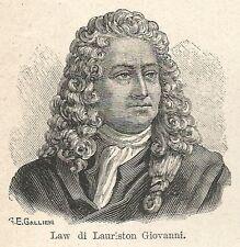 A7312 Law di Lauriston Giovanni - Stampa Antica del 1928 - Xilografia