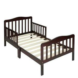 Baby Toddler Bed Kids Children Wood Bedroom Furniture w/ Safety Rails Espresso