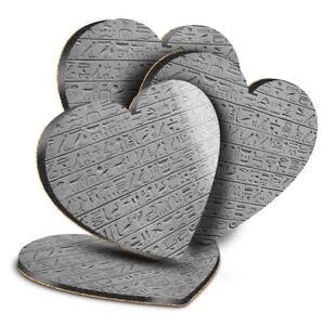 4x Heart MDF Coasters - BW - Egyptian Hieroglyphics Stone Wall  #37020