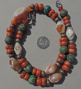 a necklace with ancient agate old undyed coral venetian and hill tribe beads #21