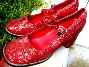 HALLOWEEN COSTUME Dorthy Wizard of OZ Chunk Heels Red Glitter SHOES Women's Sz 8