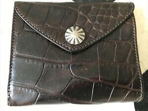 New Ralph Lauren RRL Icon Black Crocodile Embossed leather Concho Bifold Wallet