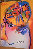 PETER MAX POSTER -PALM BEACH LADY-COOL AND COLORFUL-FACSIMILE SIGNED