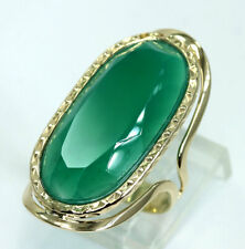 Milor Chrysoprase gemstone ring 14K yellow gold large green oval 10.35CT sz 6.25