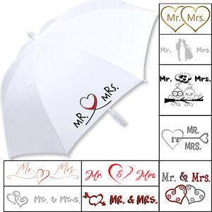 iX-brella Hochzeitsschirm Mr.&Mrs. Brautschirm weiß bedruckt groß XXL Partner