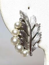 Crown Trifari Earrings Silver tone Faux Pearls Rhinestones Clip On Earrings Vint