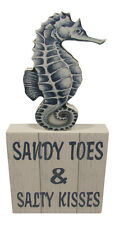 Sandy Toes & Salty Kisses Box Sign Standing Tabletop Beach Theme Coastal Decor