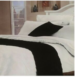 """1 x """"Satin"""" Bed Runner- Quilted (55x220cm Approx) For all Bed Sizes in Black"""