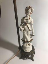 Vintage Antique Lamp Victorian Porcelain Female Figure Figurine colonial