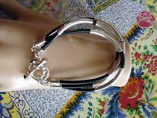 Robert Lee Morris sterling silver tube & cord bracelet
