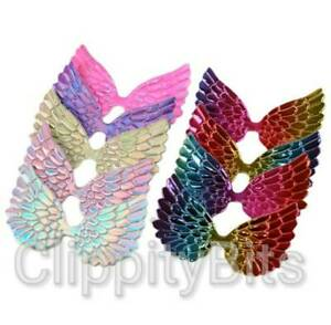 10 Pack Padded Holographic Fabric Fairy Angel Wings Rainbow Embellishments Craft
