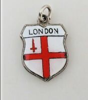 LONDON  Vintage Silver Enamel Travel Shield Charm RARE