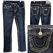 TRUE RELIGION Women's W 28 L 29 Straight Heavy Stitch Flap Pocket Jeans BUCKLE