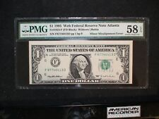 1995 One Dollar FED RESERVE NOTE PMG CH AU58 EPQ ATLANTA MISALIGNMENT $1 BILL!