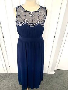 QUIZ NAVY SEQUIN EMBELLISHED LONG  MAXI EVENING OCCASION  PROM DRESS GOWN Sz 20