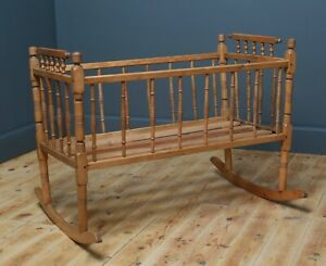 Lovely Antique Victorian Childs Baby Rocking Cot Crib Cradle