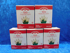 LOT of 5 Boxes Holiday Time 100 Clear White Mini Lights Green Wire Christmas