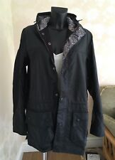 LIBERTY Print & Barbour Wax Jacket & Hood Unisex Dark Blue Small UK 12 - 14 BNWT