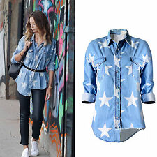 Fashion Womens Long Sleeve Stars Denim Shirt Tops Ladies Casual T-Shirt Blouse
