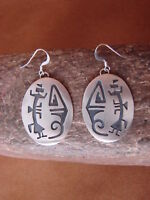 Navajo Indian Jewelry Sterling Silver Hand Stamped Earrings! Charlie Yazzie