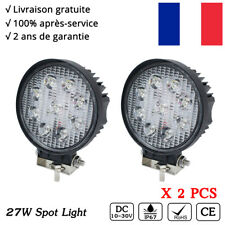 2x 27W Phare de travail LED Rond worklight 12v 24v Chantier 4x4 Jeep Offroad SUV