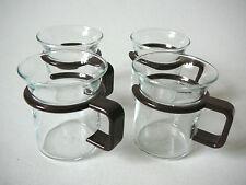 4 MINI Teegläser BODUM Espressoglas Griff braun Puppenglas Glas Kindertasse